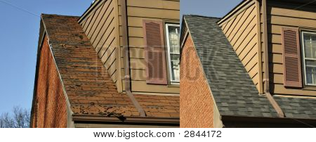 Rotten And New Roof Side By Side