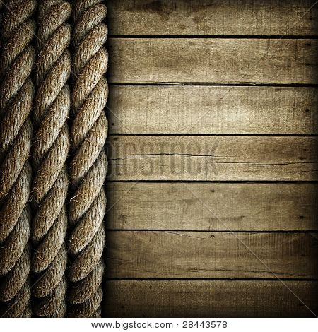 wood background with rope