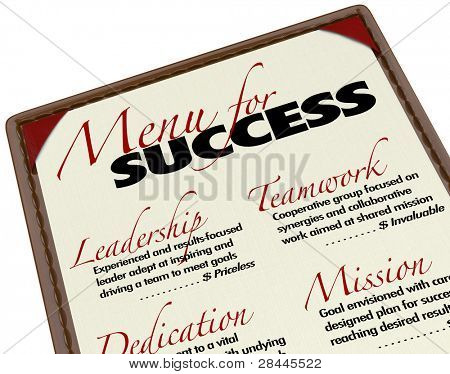 A Menu for Success shows what is offered to you in achieving your goals - Leadership, Teamwork, Dedication and Mission - all elements required for successful business or life