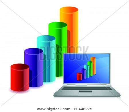 laptop with chart on a background of illustration business