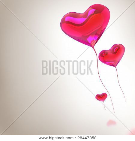 Heart Balloon Colored Red For Valentines Day Background