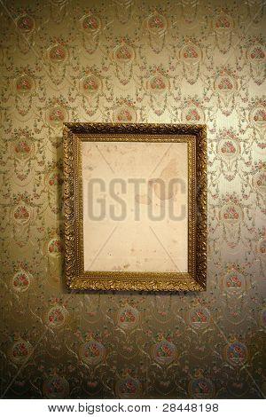 Vintage Gold Frame And Wallpaper
