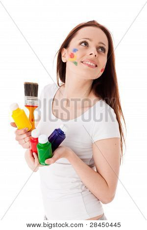 Young Woman With Paints And Paintbrush.