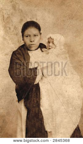Vintage 1887 Photo Of A Mexican Servant With Baby