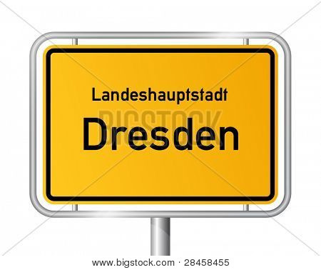 City limit sign DRESDEN against white background - federal state of Saxony / Sachsen