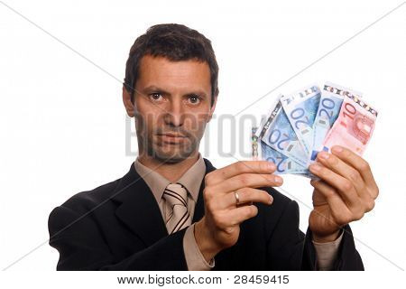 businessman with money over white background