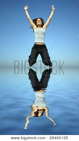 girl jumping to a lake