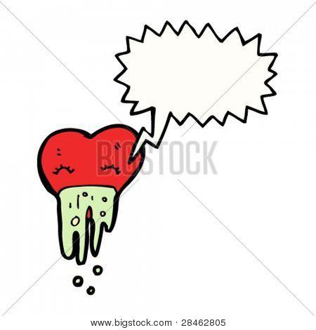 corazón de dibujos animados de mal de amores