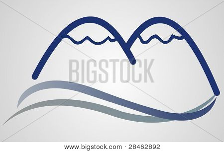 Mountain Sign with grey background