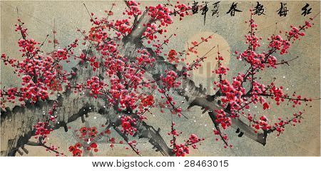 Painted Bright Red Flowers On A Large Stalk. Performed In Japanese Style.