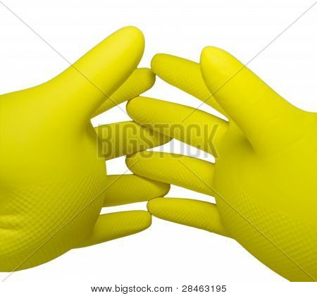 Two Inflated Rubber Gloves With Crossed Fingers. Isolated