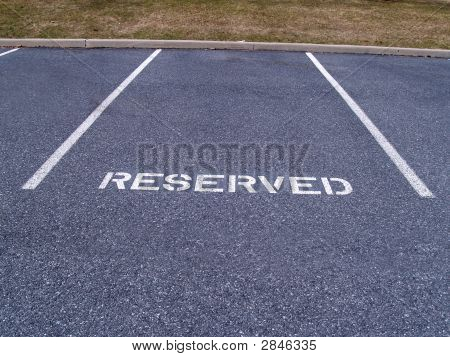 Reserved Parking Spot In A Parking Lot