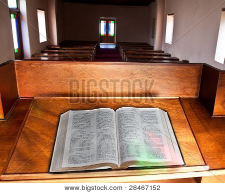 Empty Church With Lead Glass Doors