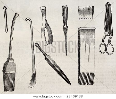 Upholstering tools old illustration. By unidentified author, published on Magasin Pittoresque, Paris, 1845