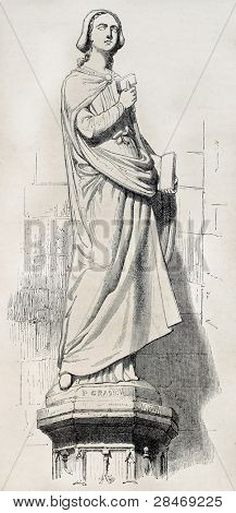Sabina von Steinbach statue old illustration, female stonemason, Strasbourg cathedral. After sculpture by Grass, published on Magasin Pittoresque, Paris, 1845