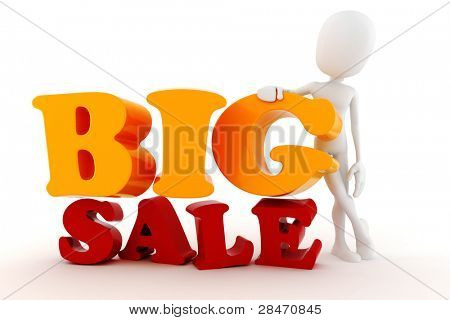 3d man and Big Sale text
