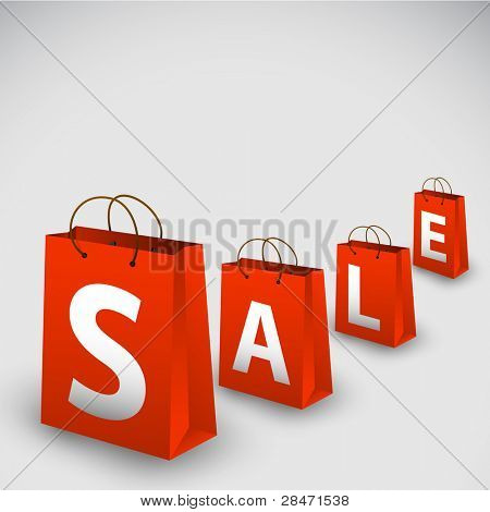 Vector sale poster made from red paper shopping bags
