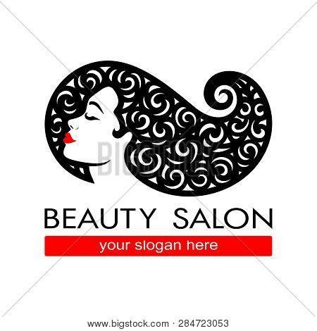 poster of Hair Salon Logotype. Woman Silhouette. Isolated Icon For Beauty Studio, Hairdresser Salon, Spa, Cosm