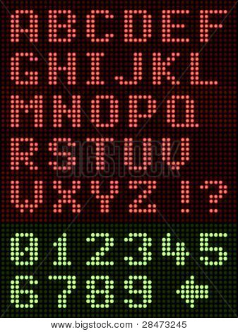 Alphanumeric Alphabet Font LED Display On Black
