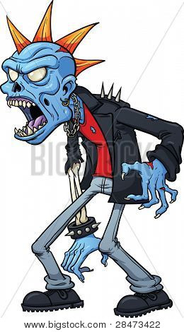 Scary punk zombie. Vector illustration with simple gradients. All in a single layer.