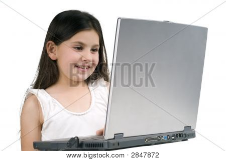 Littel Girl With Laptop Computer