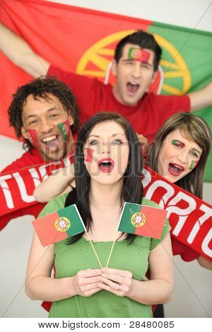 Portuguese football fans cheering