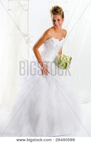 Beautiful Cheerful Bride Indoors