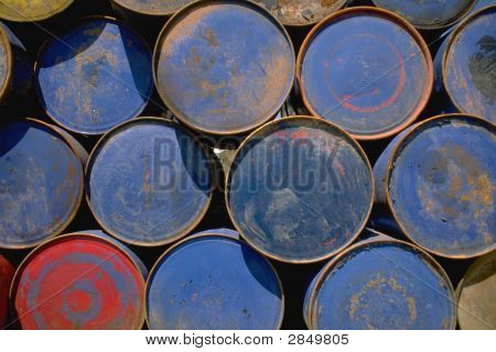 Blue An Red Oil Drums
