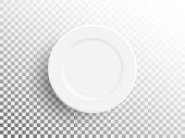 White Plate Isolated On Transparent Background. Realistic Empty Plate. Empty Dish For Food. Restaura poster