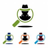 Search Find Spy Cowboy Detective Magnifying Glass Logo poster