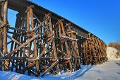 A View Of The St Albert Cn Trestle Bridge poster