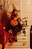 Little Girl Daydreaming On Halloween, Imagination. Little Girl Fancy A Dream On Halloween. Creative  poster