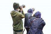 Professional Wildlife Photographer On White Background ,photographer Takes A Picture With Profession poster