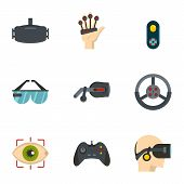 Vr Entertainment Icons Set. Flat Set Of 9 Vr Entertainment Icons For Web Isolated On White Backgroun poster
