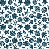 Sea Shells, Rocks, Sand On The Coast. Seamless Pattern In Blue And Yellow. For Pattern Fills, Wallpa poster