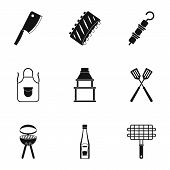 Barbecue Equipment Icons Set. Simple Set Of 9 Barbecue Equipment Icons For Web Isolated On White Bac poster