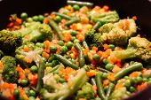 Mexican Mix. Colorful Vegetables Are Fried In A Sizzling Frying Pan: Broccoli, Corn, Peas poster