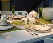pic of table manners  - Elegant Floral Patterned Spring China Table Setting - JPG