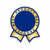 Ribbon Award Best Product Of Year. Gold Ribbon Award Icon Isolated White Background. Best Product Go poster