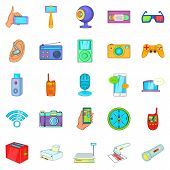 Gadget For Entertainment Icons Set. Cartoon Set Of 25 Gadget For Entertainment Icons For Web Isolate poster