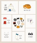 Set Of Cards With Cute Color Doodles Of Different Cats With Funny Quotes For Cat Lovers. Hand Drawn  poster