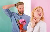 Man Ready For Perfect Date. Macho Likes To Surprise Woman. Girl Waiting For Date. Bouquet Flowers Al poster