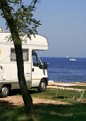 foto of camper-van  - Camper parked at see - JPG