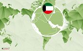 America Centric World Map With Magnified Kuwait Map. Green Polygonal World Map. poster