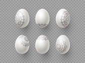 3d Easter Eggs With Handdrawn Ornament. Decorative Elements For Easter Holidays. Isolated On Transpa poster