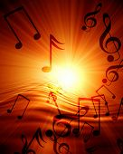 image of musical note  - Glowing sunset with musical notes on an orange background - JPG
