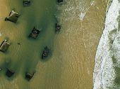 Aerial View, Erosion Of The Coastline, Atlantic Wall Blockhouse On The Oceane Beach Of Horizon, Cap  poster