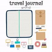 Hand Drawn Flat Style Travel Journal Essentials. Art Journaling Tool Set - Sketchbook In Cover With  poster