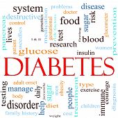 picture of diabetes  - A word cloud concept around the word Diabetes including words such as glucose pancreas blood insulin and more - JPG