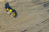 Aerial View Of Excavator And Construction Equipment. Machinery And Mine Equipment From Above. Top Vi poster